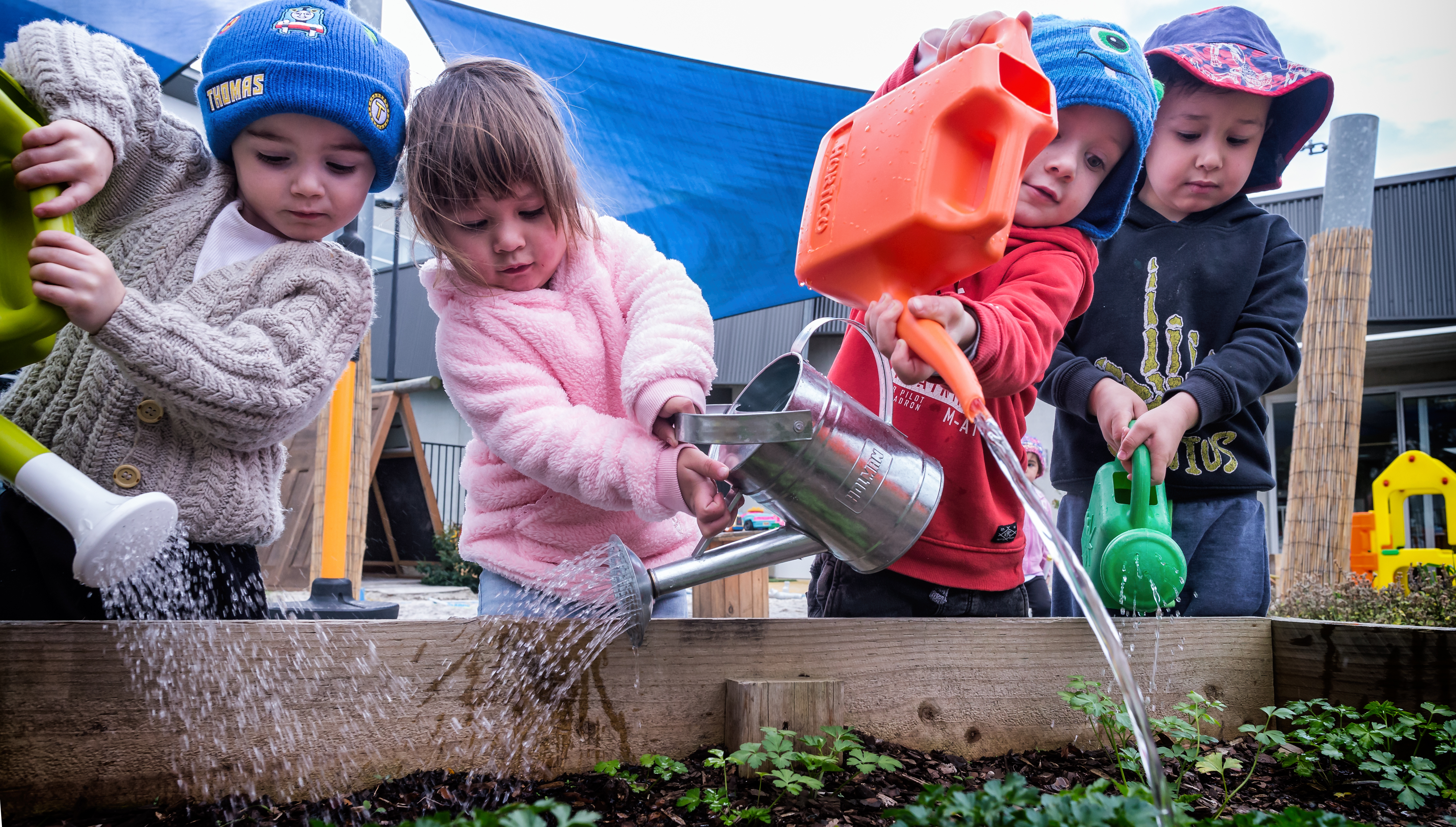 Children watering plants in the garden at sessional care