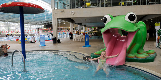 Toddler pool at Casey ARC with frog slide