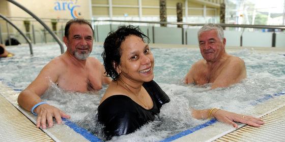 People relaxing in spa