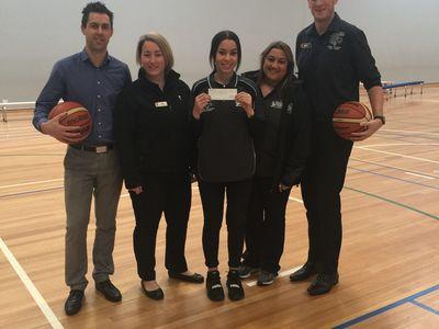 L-R: Ian Jenkins (Stadium Centre Manager), Tori Norris (YMCA),  Ashlea Feldman (Casey Basketball), Tammy Bower (Casey Basketball), Ashley Szalek (Casey Basketball)